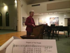 Rev. Dr. Ruth Duck leading us as we sing hymns for times of joy and sorrow.